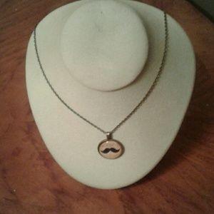 "Jewelry - Moustache Glass Pendant Necklace 20"" Chain"